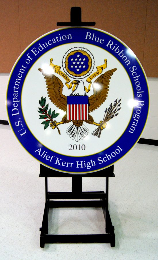 The symbol for winning the Blue Ribbon award.
