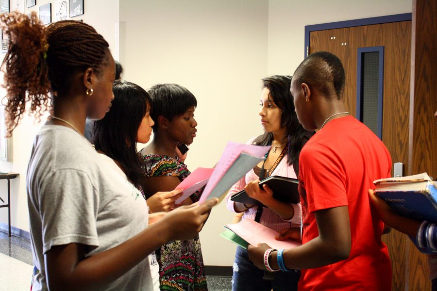 Aspiring cast members discuss their position on the waiting list and their lines. (Photo taken by Nga Nguyen)