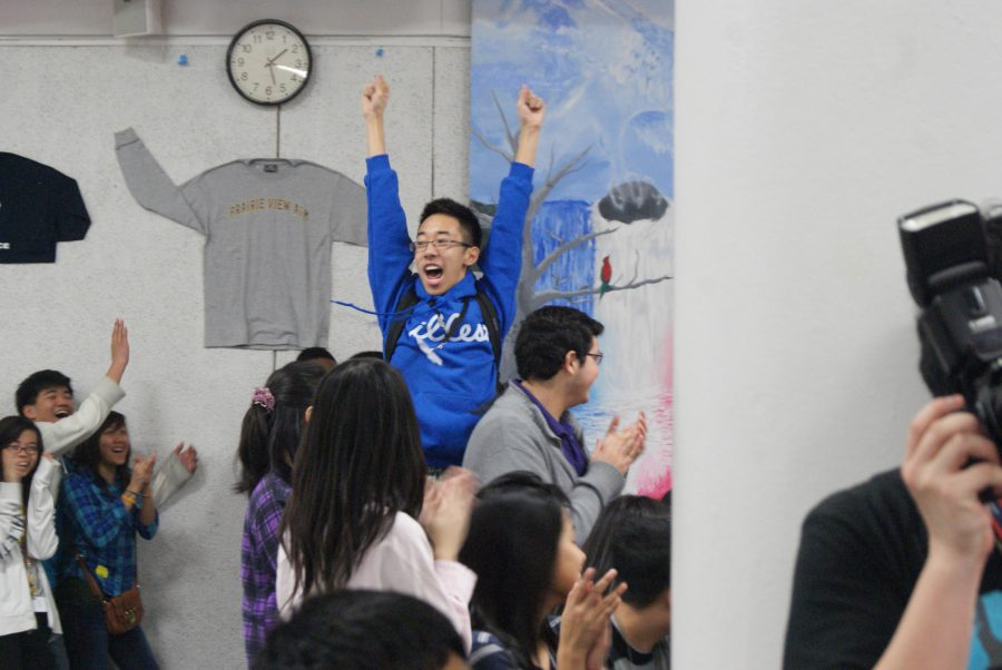 Freshman Don L. becames extremely happy during the alphabet auction.
