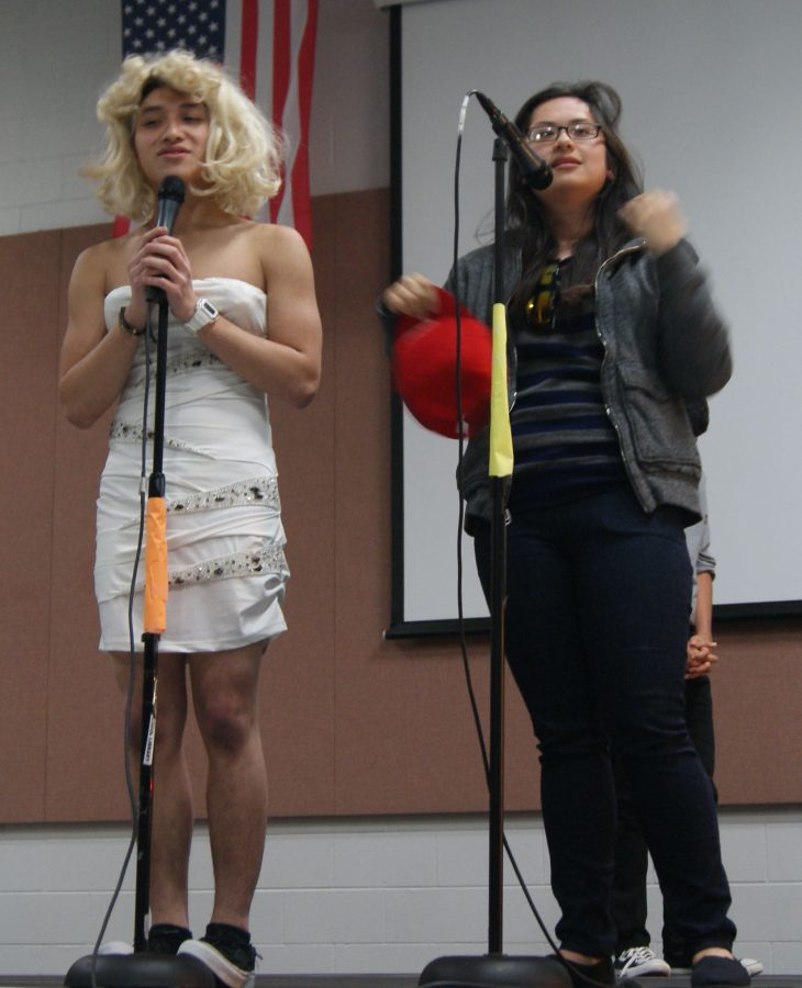 Junior Jason P. and senior Jessie H. was the hosts of the talent show. Jason dressed up as a girl making the audience hysterical.