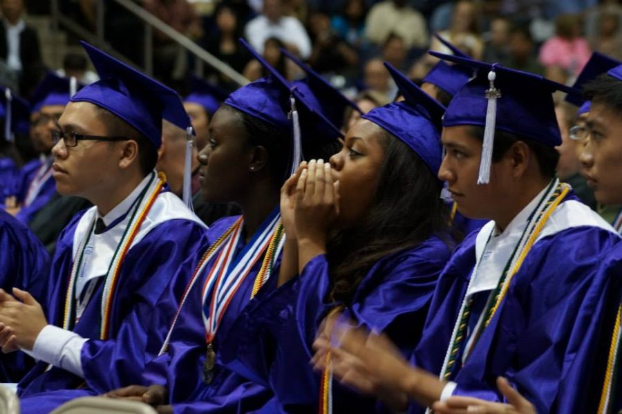 File photo: Seniors in the Class of 2014 celebrate their graduation at the Coleman Collesseum in Spring Branch.