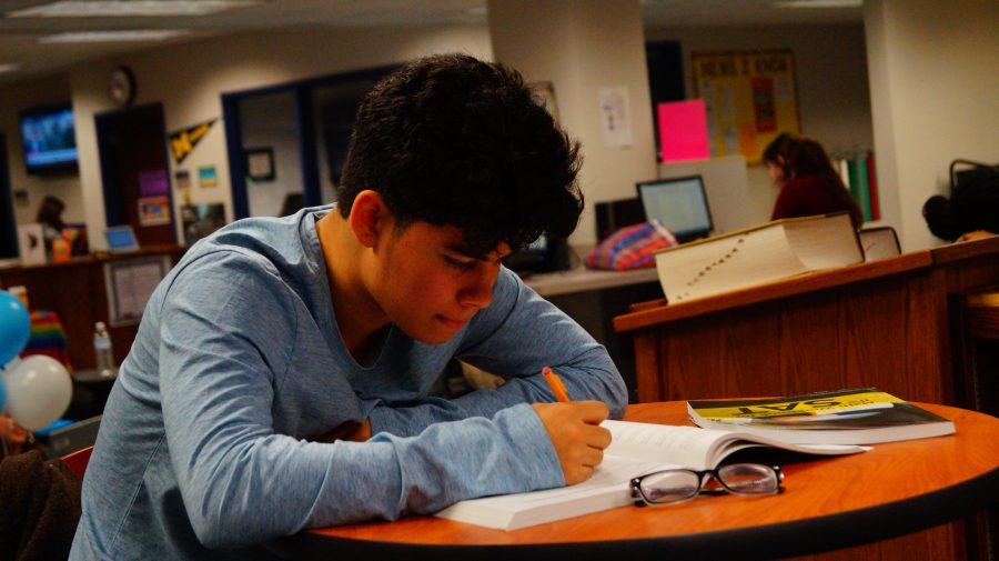 Junior Christopher Flores spends his free time in the library studying for the SAT. Flores is working on the Princeton Review books provided by the school.