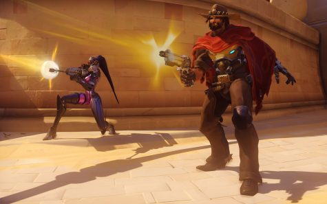 Widowmaker (left) and McCree (right) fire off shots at the enemy, Widowmaker with her deadly one-shot, one-kill sniper and McCree with his hard-hitting 6-shot revolver.