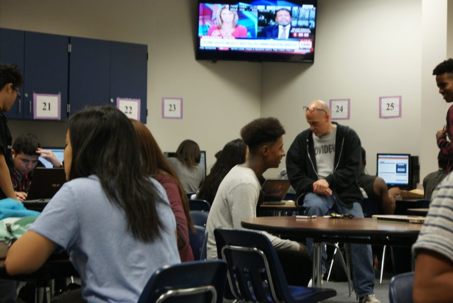History teacher George Gendron interacting with his students.