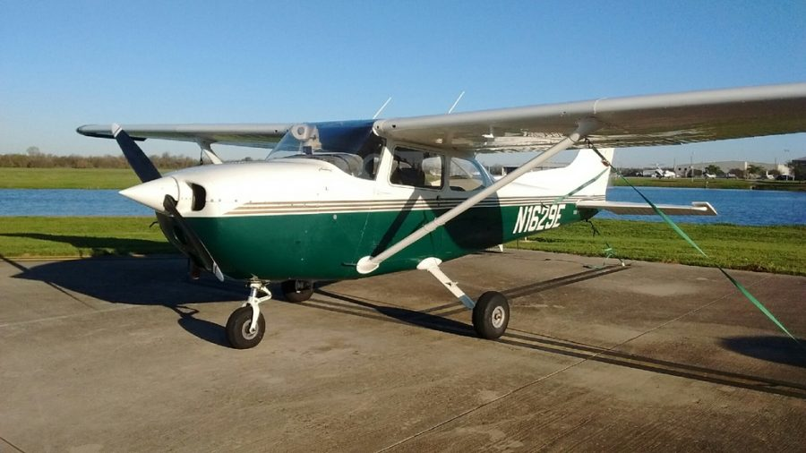 Senior Haden Cowdrey is learning to pilot the the 1979 Cessna 172.