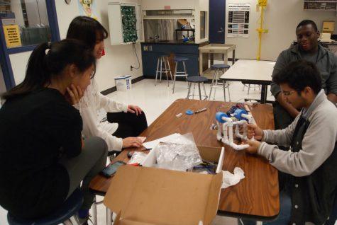 Engineering Club Members preparing their groups Sea Perch