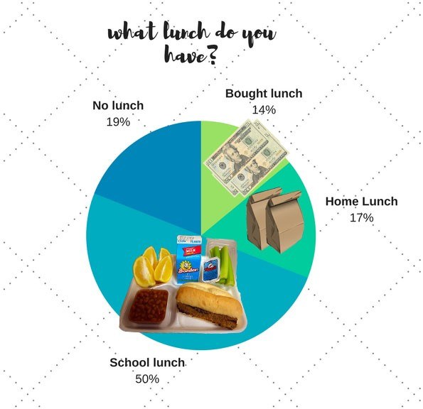 19% of students don't eat lunch. 14% of students buy lunch outside school. 17% eat lunch made at home. 50% of students actually eat school lunch.
