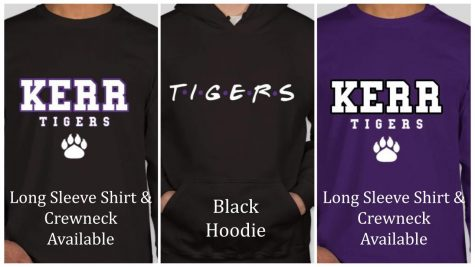 Image of a black long sleeve shirt, a black hoodie and a purple shirt all featuring Kerr designs.